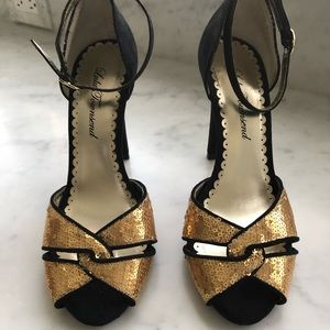 Lulu Townsend gold sequin shoes, 7